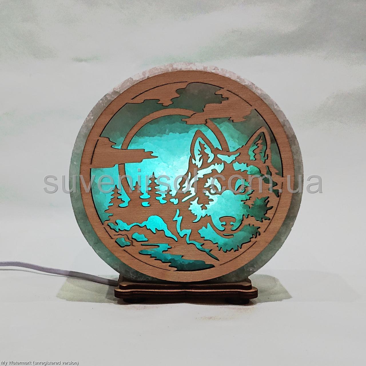 Соляной светильник круглый Волк