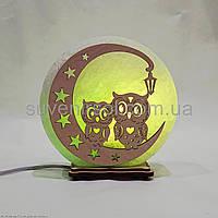 Соляной светильник круглый Совы на луне