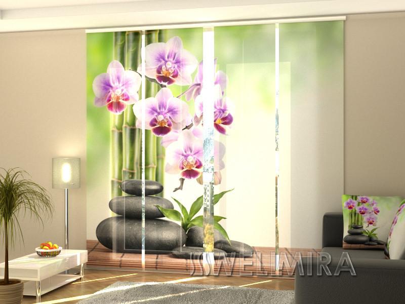 """Панельные Фотошторы """"Орхидеи и камни"""" 240 х 240 см фото шторы штори панельная штора"""