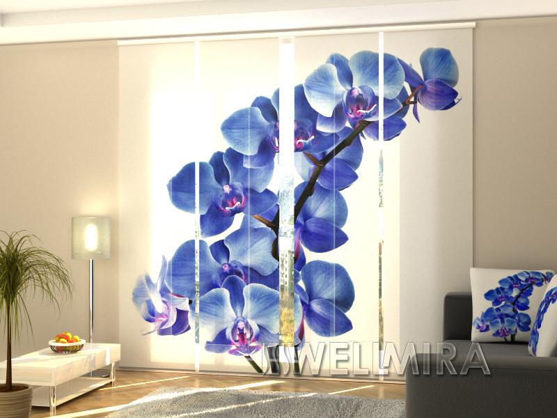 """Панельные Фотошторы """"Голубая Орхидея"""" 240 х 240 см фото шторы штори панельная штора"""