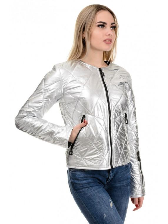 209 Модная женская куртка Амалия серебро (42-48)