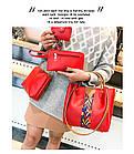 Набор женских сумок 4 предмета красного цвета с орнаментом 01100, фото 2