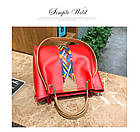 Набор женских сумок 4 предмета красного цвета с орнаментом 01100, фото 5