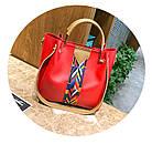 Набор женских сумок 4 предмета красного цвета с орнаментом 01100, фото 7