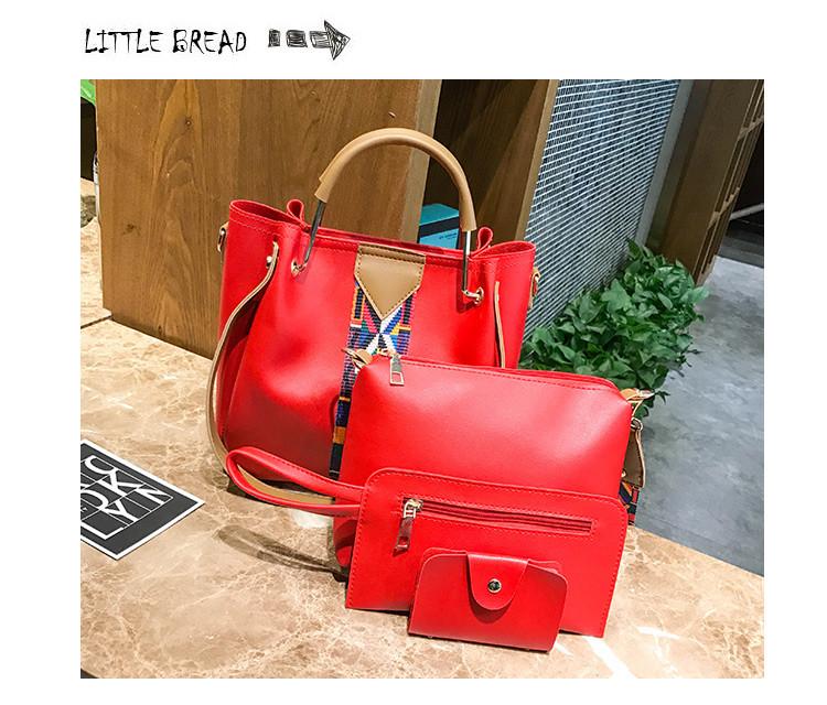 Набор женских сумок 4 предмета красного цвета с орнаментом 01100