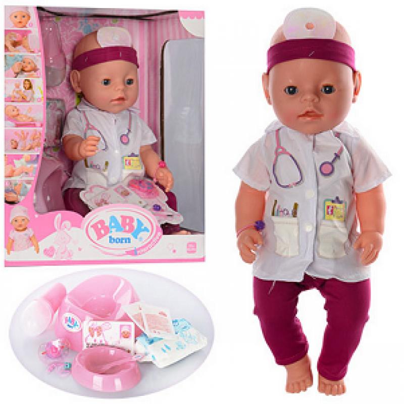 🔥✅ Интерактивная кукла Пупс BL019A-S Baby Born доктор, пупсик Беби Борн врач Малятко