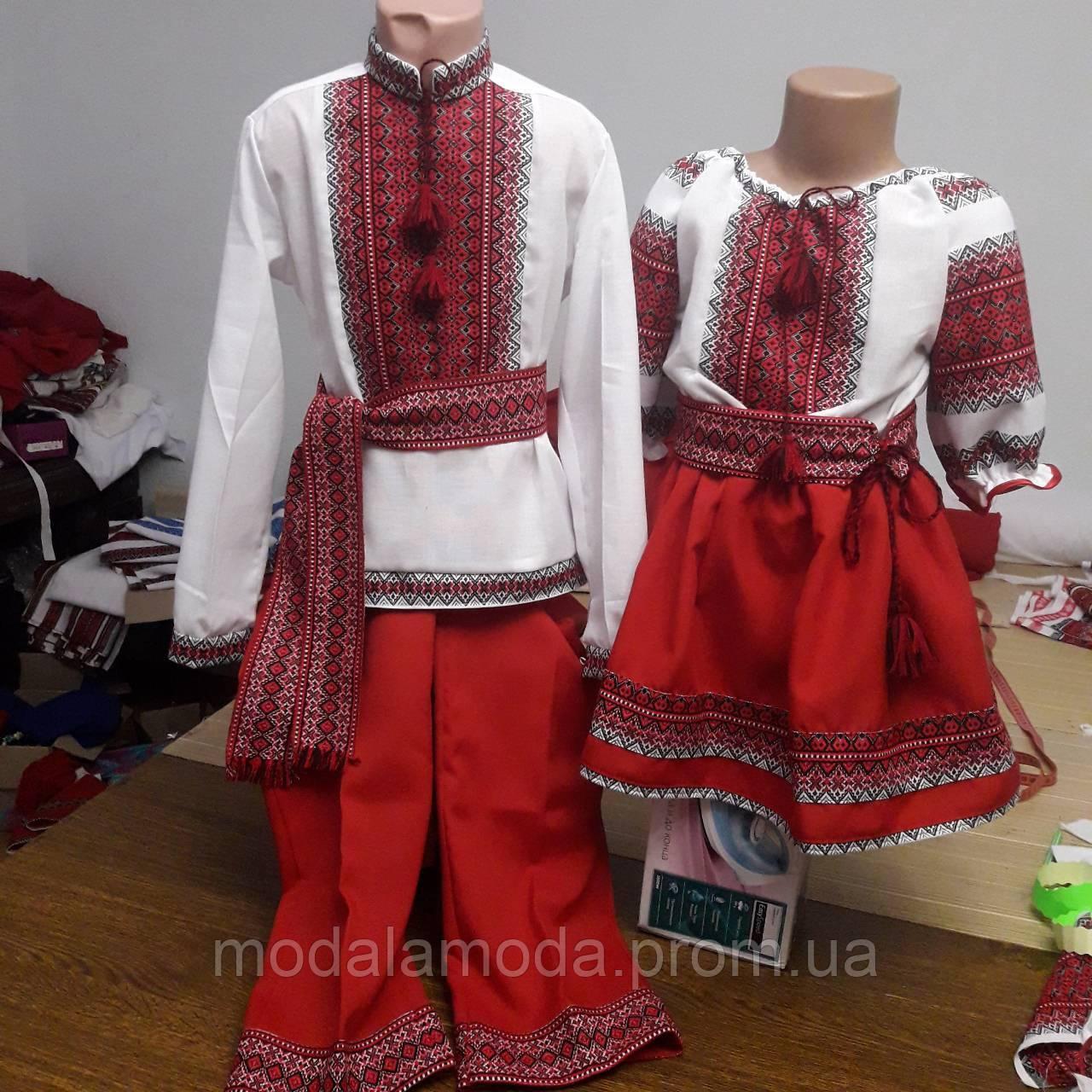 Костюм вышитый для девочки с украинским орнаментом