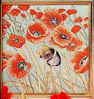 Набор для вышивки крестом Поле маков. Размер: 22*22 см