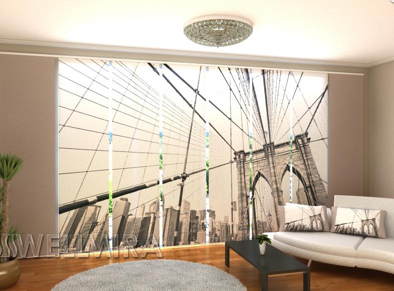 """Панельные Фото штори """"Серый Бруклинский мост"""" 480 х 240 см"""