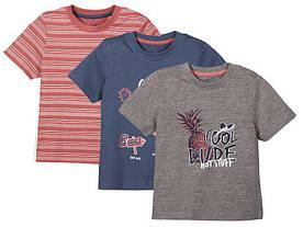 Набор футболок для мальчика серая, синяя, полосатая Lupilu (Германия) р.86/92см