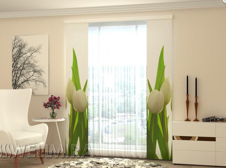 """Панельные Фото штори """"Белые тюльпаны"""" 80 х 225 см"""