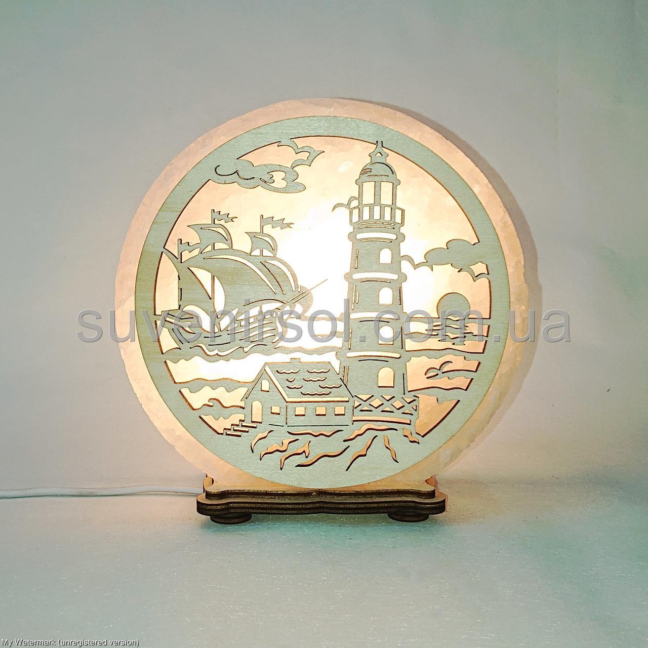 Соляной светильник круглый Маяк и корабль