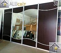 Фасады купе з комбинированным наполнением (ДСП,зеркало, стекло)