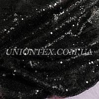 Ткань пайеткамелкая черная (пайетка на сетке)