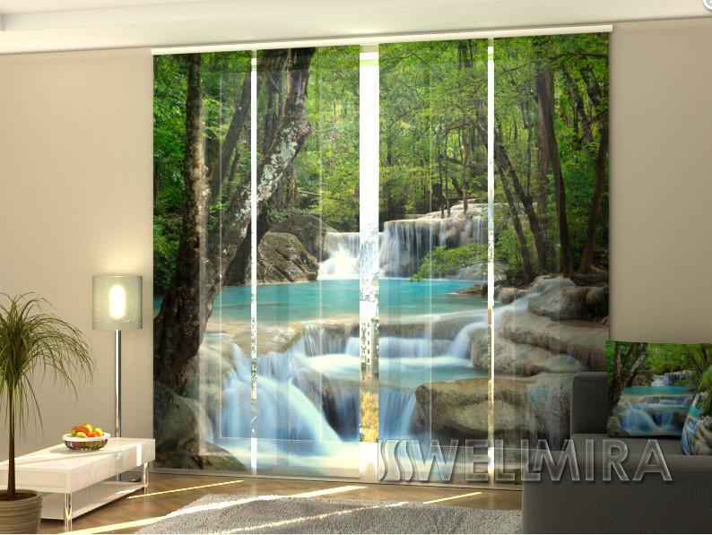 Панельные Фотошторы Тайский водопад весной 240 х 240 см фото шторы с рисунком штори панельная штора