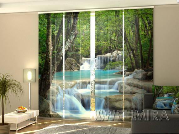 Панельные Фотошторы Тайский водопад весной 240 х 240 см фото шторы с рисунком штори панельная штора, фото 2