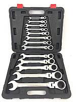 Професиональний набор ключей рожково-накидных с трещоткой Falon Tech Польша 13 предметов (8-32)