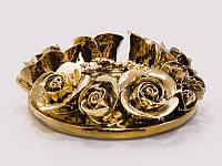 Подсвечник керамический Розалина золотой