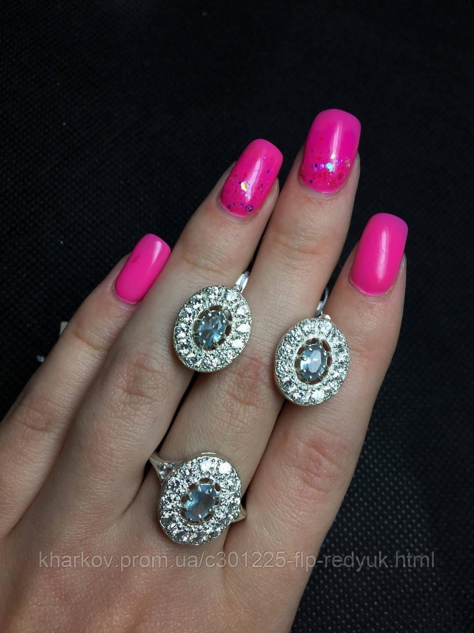 Серебряный набор кольцо и серьги  Шансон