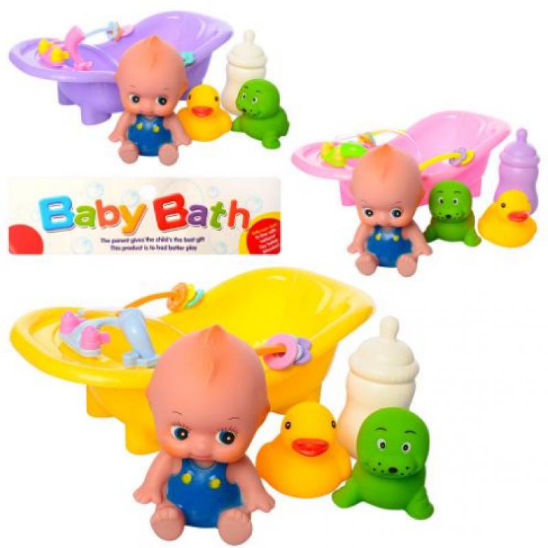 🔥✅ Детская игрушка Пупс BLS88-82 резиновый с ванночкой и животными-пищалка