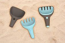 Игровой набор для песка и снега RAKI (серый совочек+ голубые грабельки) QUUT, фото 2
