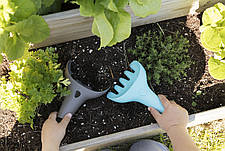Игровой набор для песка и снега RAKI (серый совочек+ голубые грабельки) QUUT, фото 3