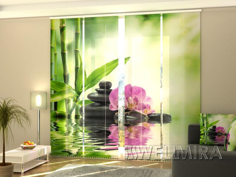 """Панельные Фотошторы """"Орхидеи и солнце"""" 240 х 240 см фото шторы штори панельная штора"""