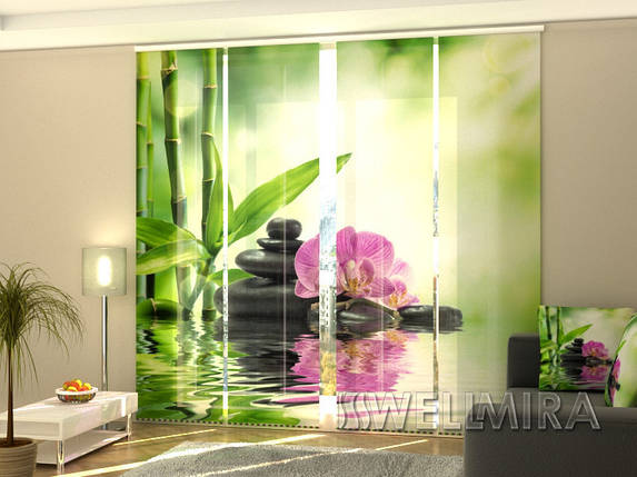 """Панельные Фотошторы """"Орхидеи и солнце"""" 240 х 240 см фото шторы штори панельная штора, фото 2"""