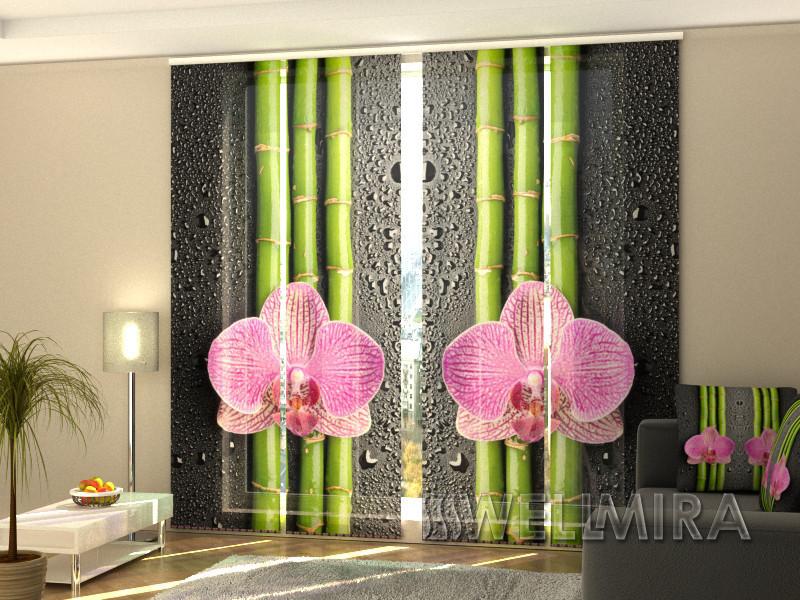 """Панельные Фотошторы """"Орхидеи и бамбук 2"""" 240 х 240 см фото шторы штори панельная штора"""
