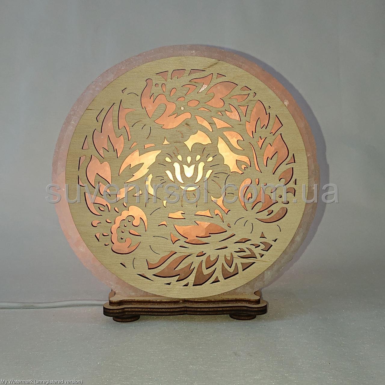 Соляной светильник круглый Цветы 93