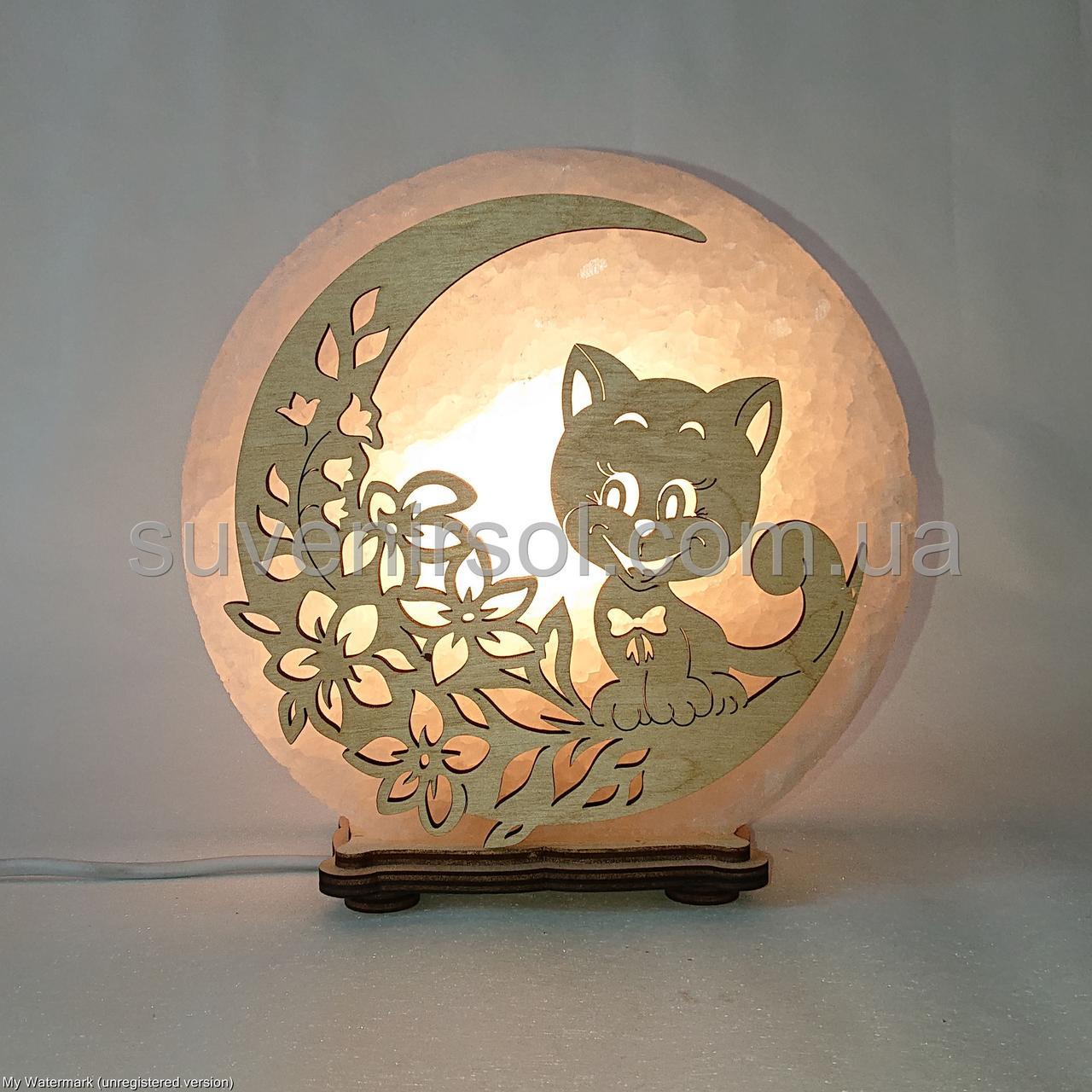 Соляной светильник круглый Кот и цветы