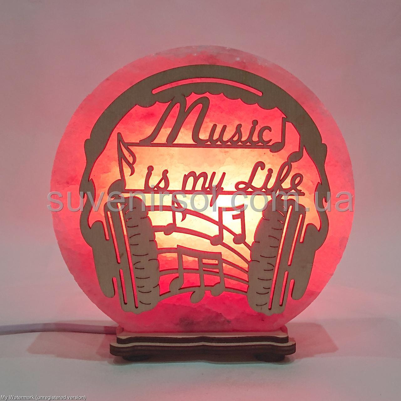 Соляной светильник круглый Музыка