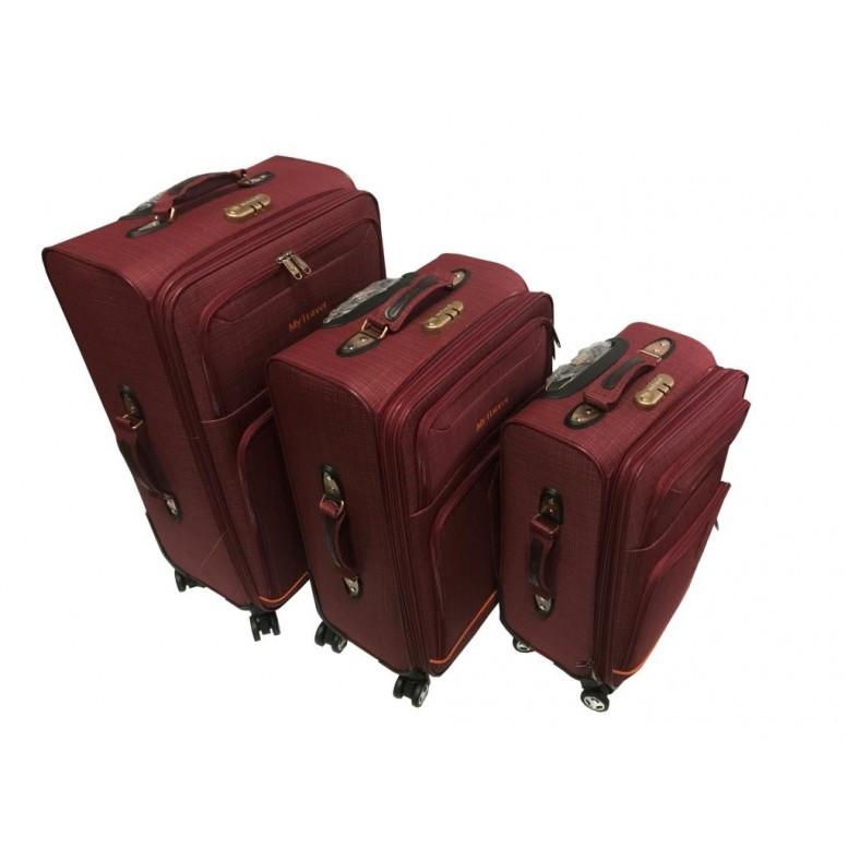063a6b79b7ed Купить Чемодан тканевый комплект тройка цвет бордо My travel с ...