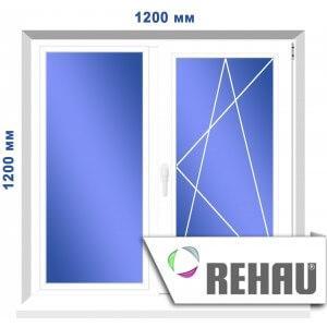 Двустворчатое окно, 1200 х 1200 мм