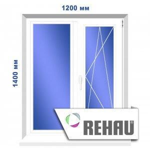 Двустворчатое окно, 1200 х 1400 мм