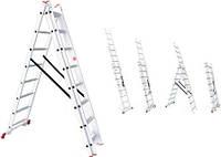 Лестница алюминиевая 3-х секционная универсальная раскладная 3*8 ступеней Intertool  LT-0308