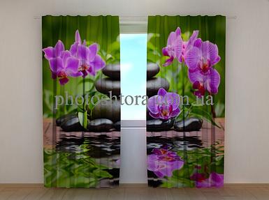 """Фотошторы """"Орхидеи в саду"""" 250 х 260 см цветы фото штори шторы с рисунком"""