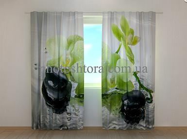 """Фотошторы """"Фисташковые орхидеи"""" 250 х 260 см цветы фото штори шторы с рисунком"""