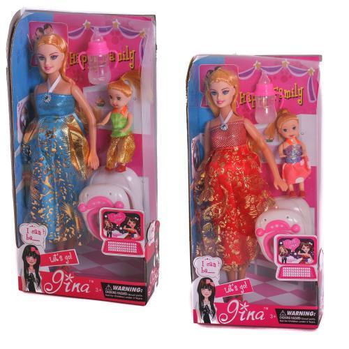 """Лялька типу """"Барбі"""" Вагітна 6026D, з малою лялечкою, пляшкою, ходунками в коробці 30см"""