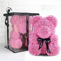 Мишка из роз 25 см с запахом цветов! в подарочной упаковке Розовый