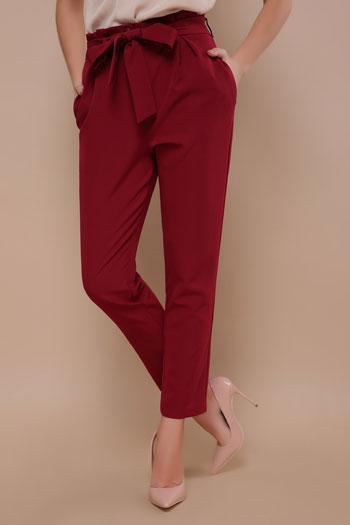 Женские укороченные брюки с карманами (бордовый)