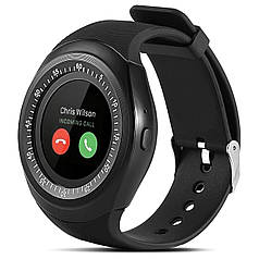 """ϞСмарт-часы UWatch Y1 Black диагональю 1.3"""" Диктофон bluetooth Звонки круглый дисплей USB 2.0 батарея 380 мАч"""