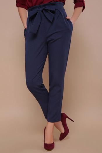 Женские стильные брюки с карманами (синий)