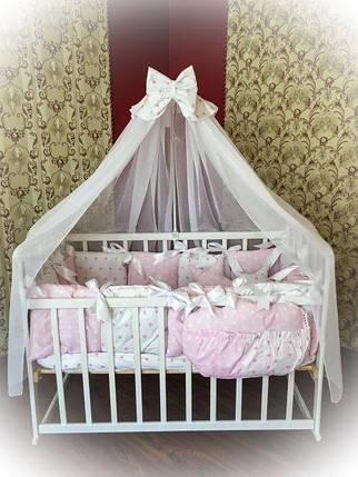 Детское постельное белье в кроватку ТМ Bonna Elite Розовое в звездочку, фото 2