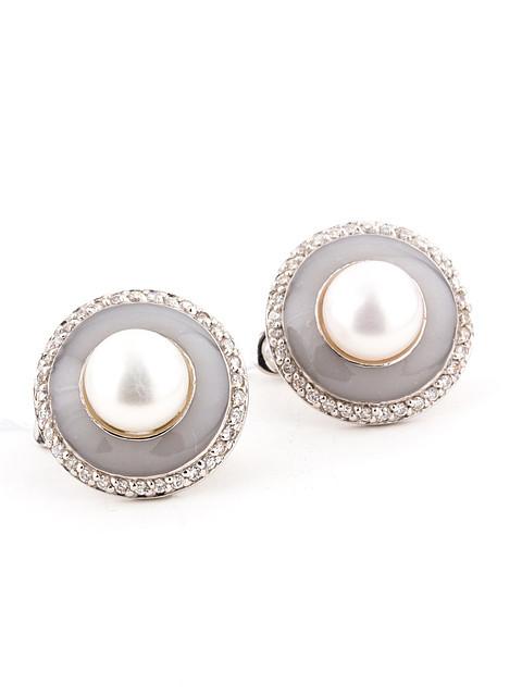 Серьги серебряные с ювелирной эмалью и жемчугом