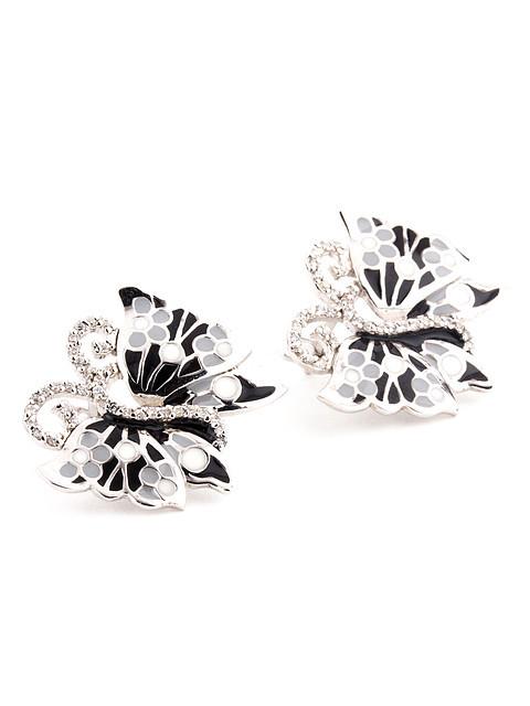 Серьги серебряные с ювелирной эмалью