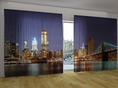 Панорамные Фотошторы Манхэттен 270 х 500 см фото шторы панорамні штори