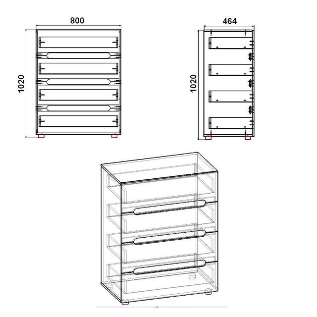 """чертеж комода-7 модульная система """"стиль"""""""