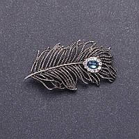 """Брошь """"Серебряное перо"""" цвет металла серебристый 5х2,5см Код:719017073"""