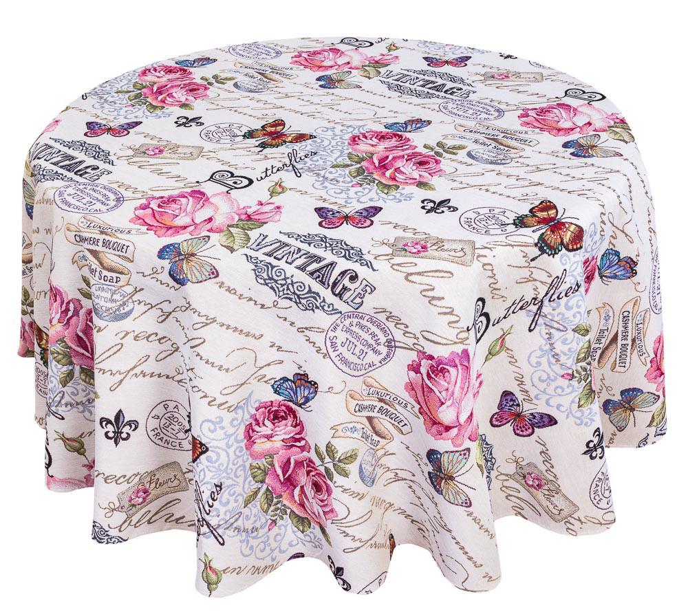 Скатерть тканевая гобеленовая пасхальная круглая Винтаж Ø140 см на круглый стол
